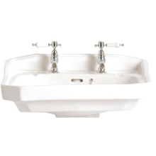 Heritage Granley 3 Tap Hole Standard Basin - White