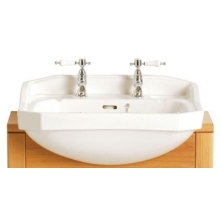 Heritage Granley Medium Semi-Recessed Basin 3 Taphole White