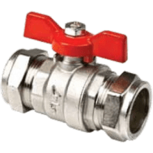 Inta Butterfly Handle Ball Valve 22mm Red