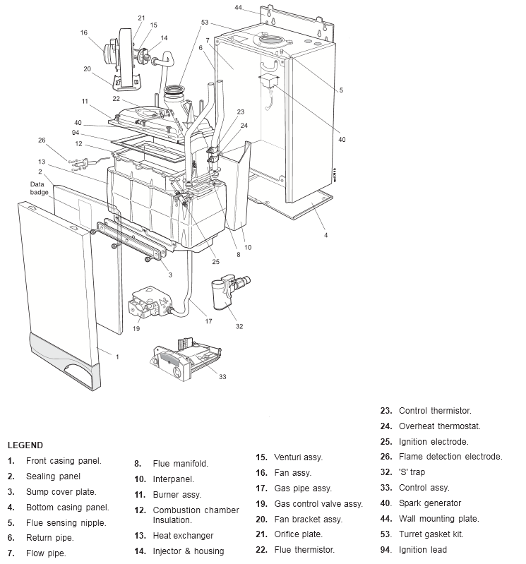 Ideal icos he15 (boiler) diagram | heating spare parts.