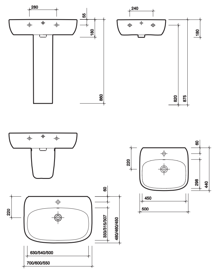 Mode Basin Dimensions