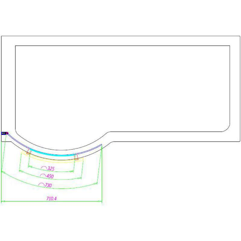 Suregraft P Shape 6mm Curved Bath Screen