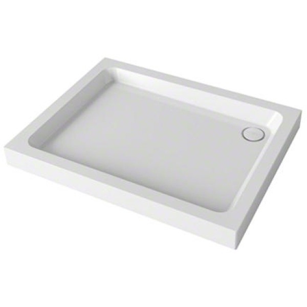 Mira Flight 1200mm x 800mm Rectangle Shower Tray - 3 Upstands - White