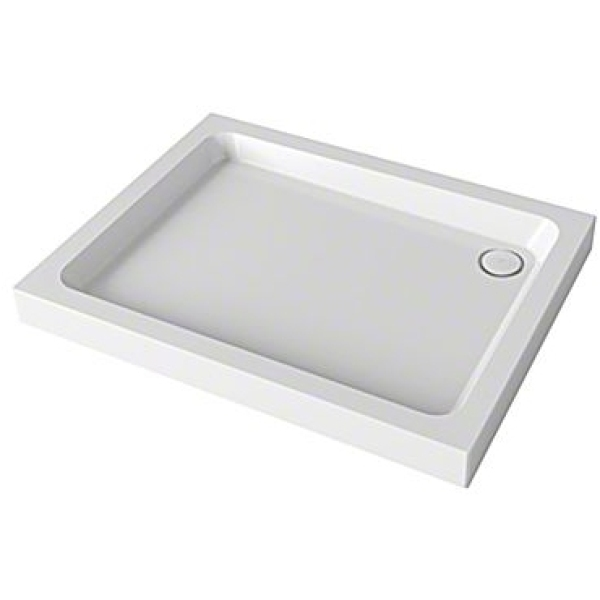 Mira Flight 800mm x 800mm Square Shower Tray - 2 Upstands - White