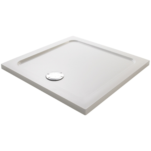 Mira Flight 800mm Low Square Shower Tray - White