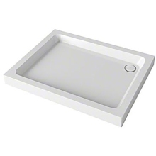 Mira Flight 900mm x 900mm Square Shower Tray - 3 Upstands - White