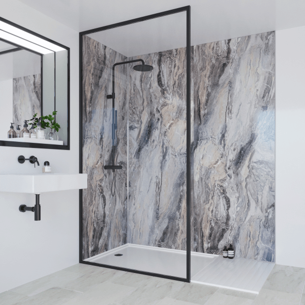 Multipanel Classic Bathroom Wall Panel Hydrolock Tongue & Groove 2400x598mm Cappuccino Stone