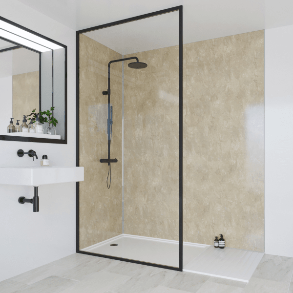Multipanel Classic Bathroom Wall Panel Unlipped 2400x1200mm Travertine