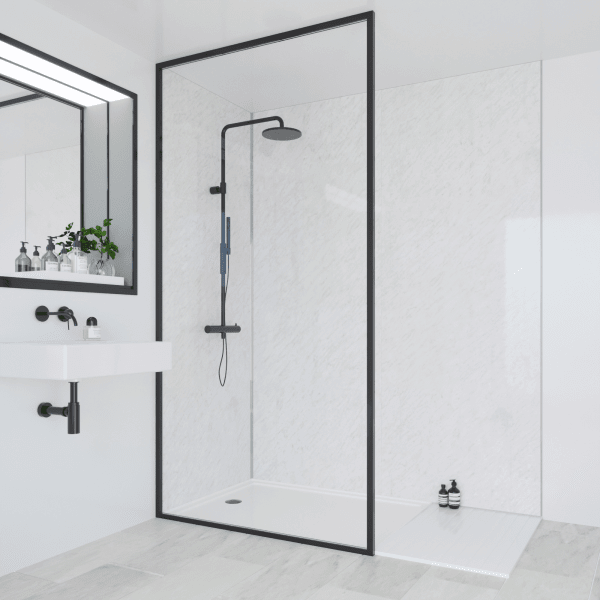 Multipanel Classic Bathroom Wall Panel Hydrolock Tongue & Groove 2400x1200mm Classic Marble