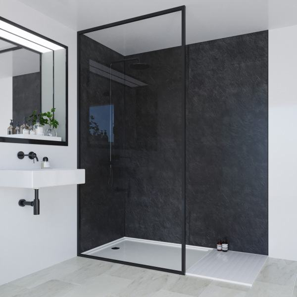 Multipanel Classic Bathroom Wall Panel Hydrolock Tongue & Groove 2400x1200mm Riven Slate