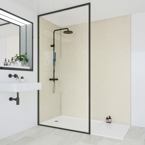 Multipanel Classic Bathroom Wall Panel Hydrolock Tongue & Groove 2400x598mm Riven Marble