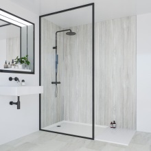 Multipanel Classic Bathroom Wall Panel Hydrolock Tongue & Groove 2400x1200mm Jupiter Silver