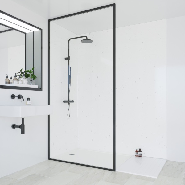 Multipanel Classic Bathroom Wall Panel Hydrolock Tongue & Groove 2400x1200mm White Snow