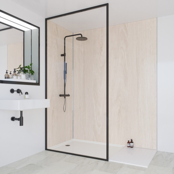 Multipanel Heritage Bathroom Wall Panel Hydrolock Tongue & Groove 2400x598mm Alabaster Oak