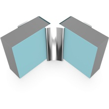 Multipanel Internal Corner Profile Type A Polished Silver