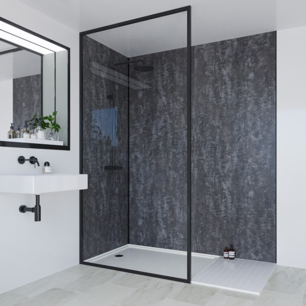Multipanel Linda Barker Collection Bathroom Wall Panel Graphite Elements Hydrolock Tongue and Groove 2400 x 900mm