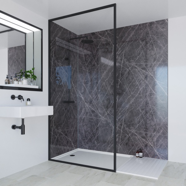 Multipanel Linda Barker Collection Bathroom Wall Panel Unlipped 2400x1200mm Ferro Grafite