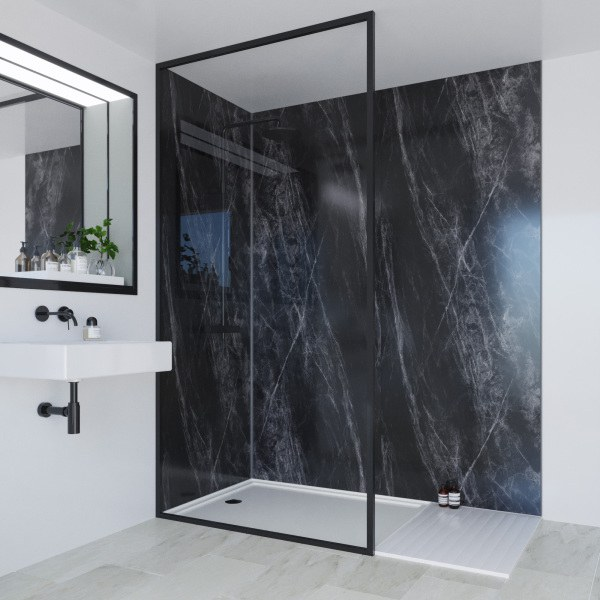Multipanel Linda Barker Collection Bathroom Wall Panel Unlipped 2400x598mm Jet Noir