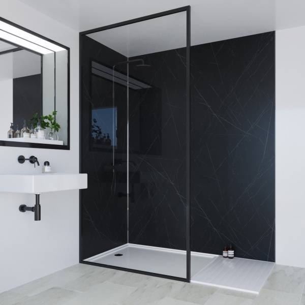 Multipanel Linda Barker Collection Bathroom Wall Panel Hydrolock Tongue and Groove 2400x900mm Nero Grafite
