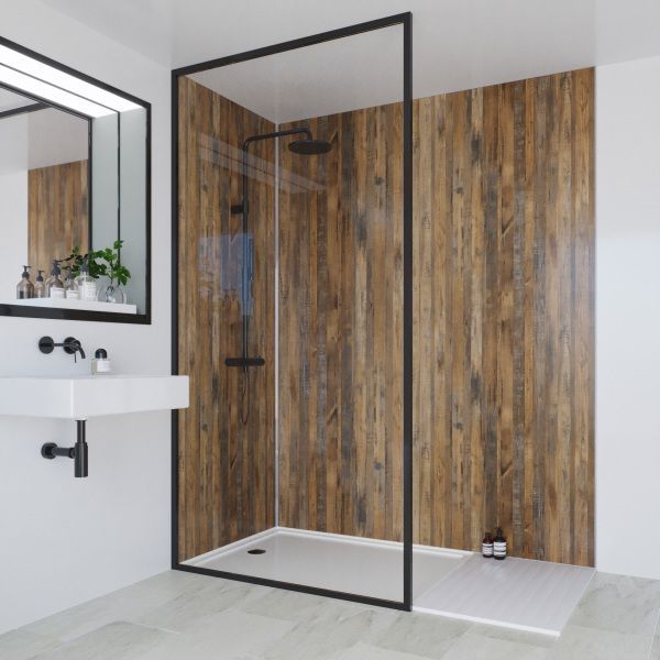 Multipanel Linda Barker Collection Bathroom Wall Panel Hydrolock Tongue & Groove 2400x1200mm Salvaged Planked Elm