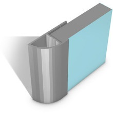 Multipanel Quadrant End Cap Profile Type E Satin Silver