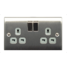 Nexus Brushed Steel 2 Gang 13A Switch Socket NBS22G