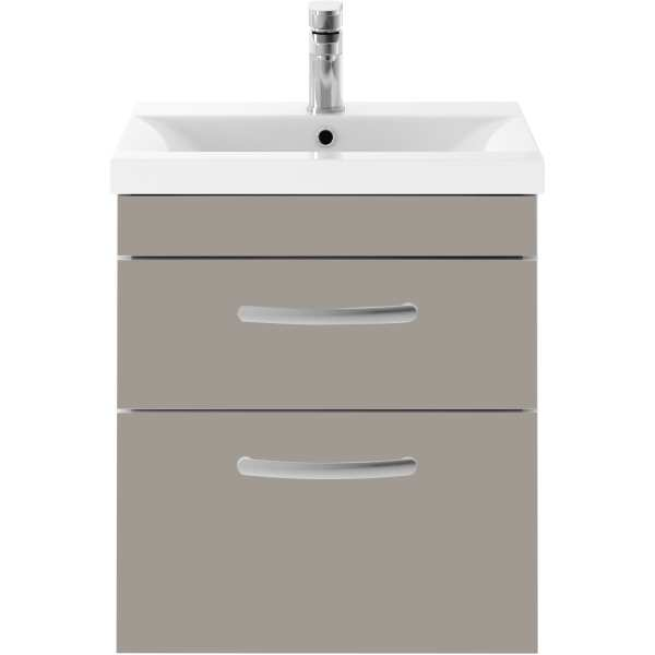 Parke & Taylor Elegance 500mm Wall Hung 2 Drawer Basin Unit Stone Grey