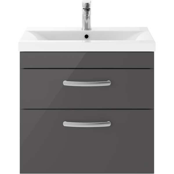 Parke & Taylor Elegance 600mm Wall Hung 2 Drawer Basin Unit Grey Gloss