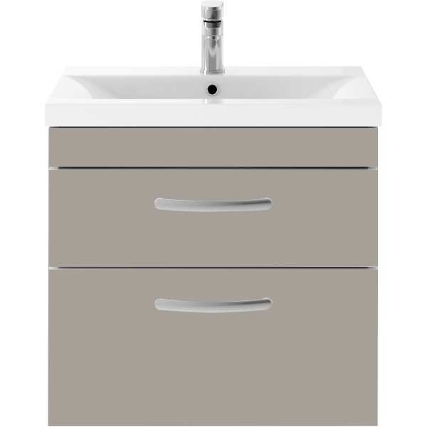 Parke & Taylor Elegance 600mm Wall Hung 2 Drawer Basin Unit Stone Grey
