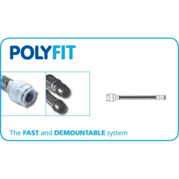 PolyFit 15mm x 300mm x M10 Monobloc Mixer Flexible Hose Connector