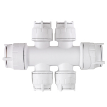 PolyFit 22mm x 10mm 4 Port Double Sided Manifold Socket/Socket White