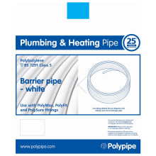 PolyFit 28mm x 50M Barrier Polybutylene Pipe Cut Length - White