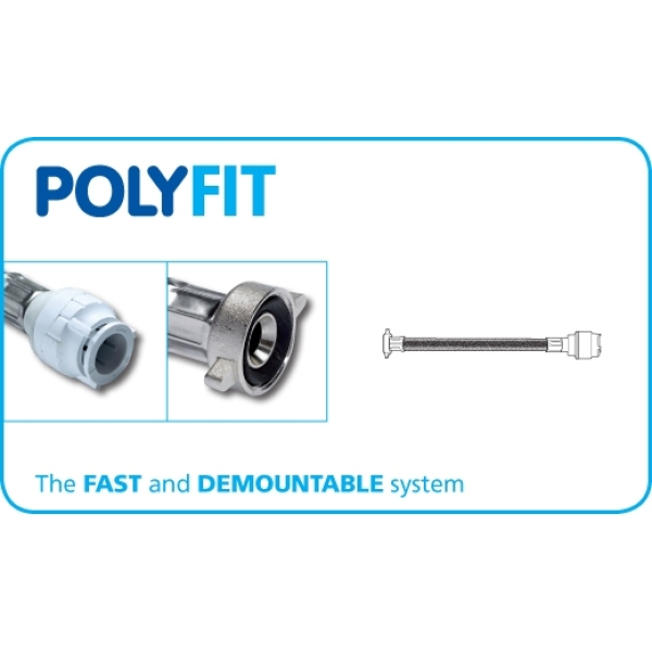 PolyFit 15mm x 1/2inch x 150mm Flexible Hose Tap Connector