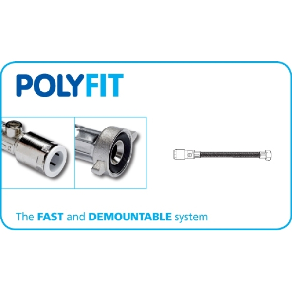 PolyFit 15mm x 1/2inch x 500mm Flexible Hose Tap Connector With Service Valve