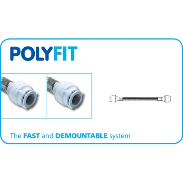 PolyFit 15mm x 15mm x 500mm Flexible Hose Connector