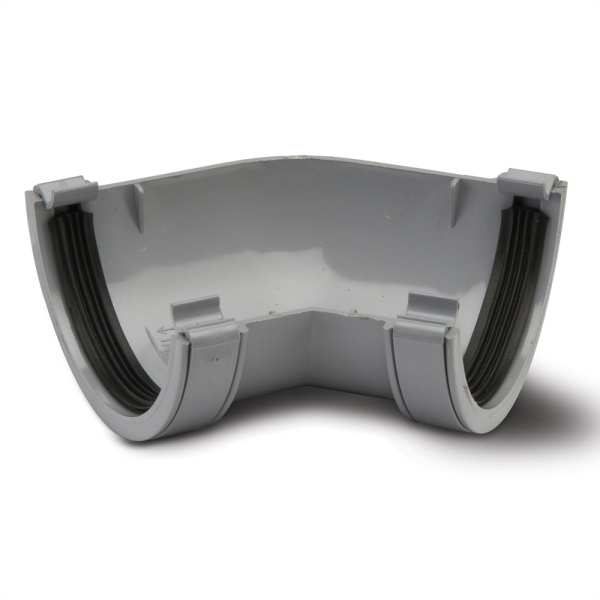 Polypipe 112mm x 135 Deg Half Round Gutter Angle Grey