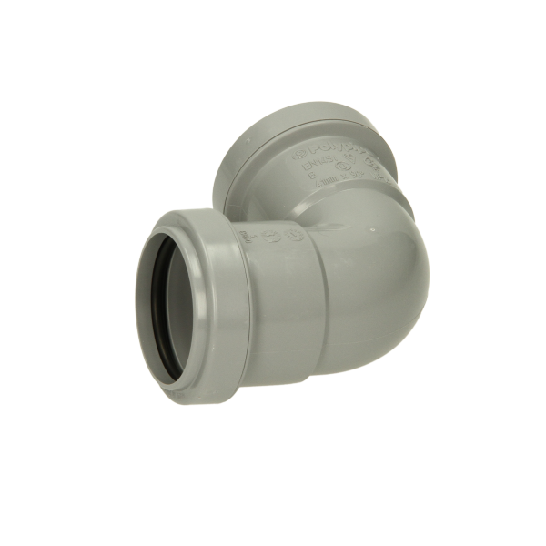 Polypipe Pushfit Waste Knuckle Bend 40mm x 90 Degrees Grey