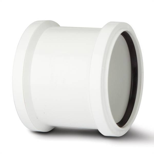 Polypipe Ring Seal Soil Double Socket Coupler 110mm White