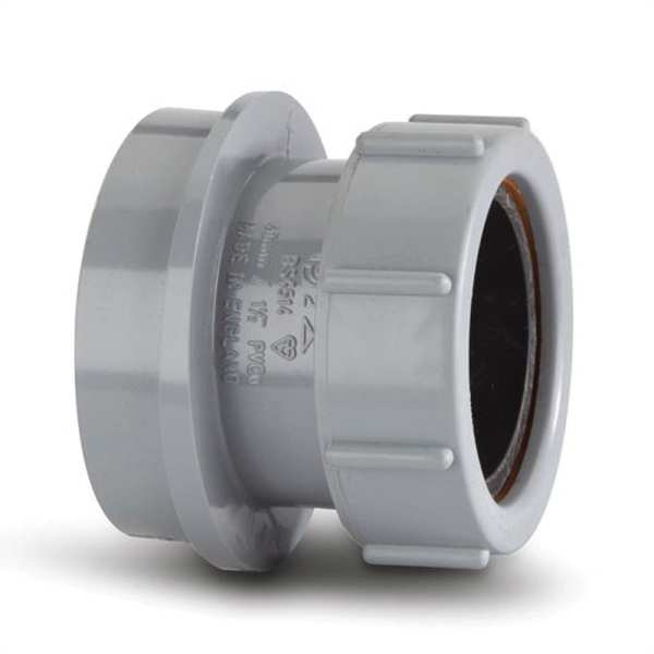Polypipe Ring Seal Soil Straight Boss Adaptor Solvent x Compression for 40mm Waste Pipe Grey