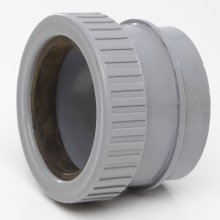 Polypipe Ring Seal Soil Straight Boss Adaptor Solvent x Compression for 50mm Waste Pipe Grey