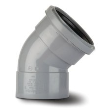 Polypipe Ring Seal Soil to Solvent Socket Offset Bend Double Socket 110mm x 135 Degrees Grey