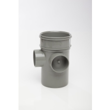 Polypipe Solvent 3 Way Boss Pipe Single Socket 110mm Grey