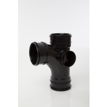 Polypipe Solvent Branch Triple Socket 82mm x 92.5 Degrees Black