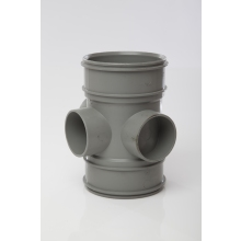 Polypipe Solvent Soil 3 Way Boss Pipe Double Socket 110mm Grey