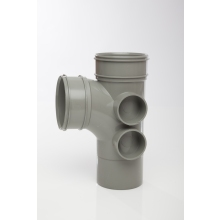 Polypipe Spigot Branch 4 Boss Double Socket 110mm x 92.5 Degrees Grey
