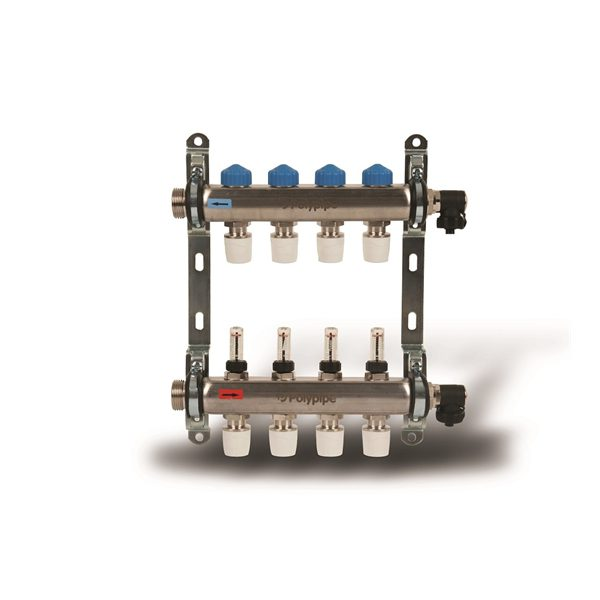Polypipe UFH Stainless Steel 8 Port Push Fit Manifold - 15mm