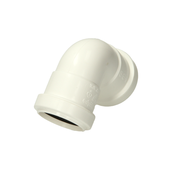 Polypipe Pushfit Waste Knuckle Bend 40mm X 90 Degrees White