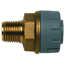 PolyPlumb 10mm x 1/4inch Male BSP Adaptor Brass