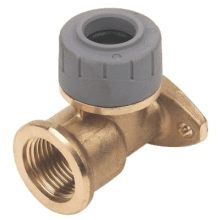 PolyPlumb 22mm x 1/2inch Wallplate Elbow Brass
