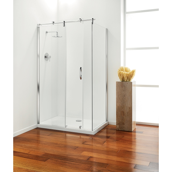 Premier Frameless Hinged Door 800mm Plain Glass Chrome Left Hand